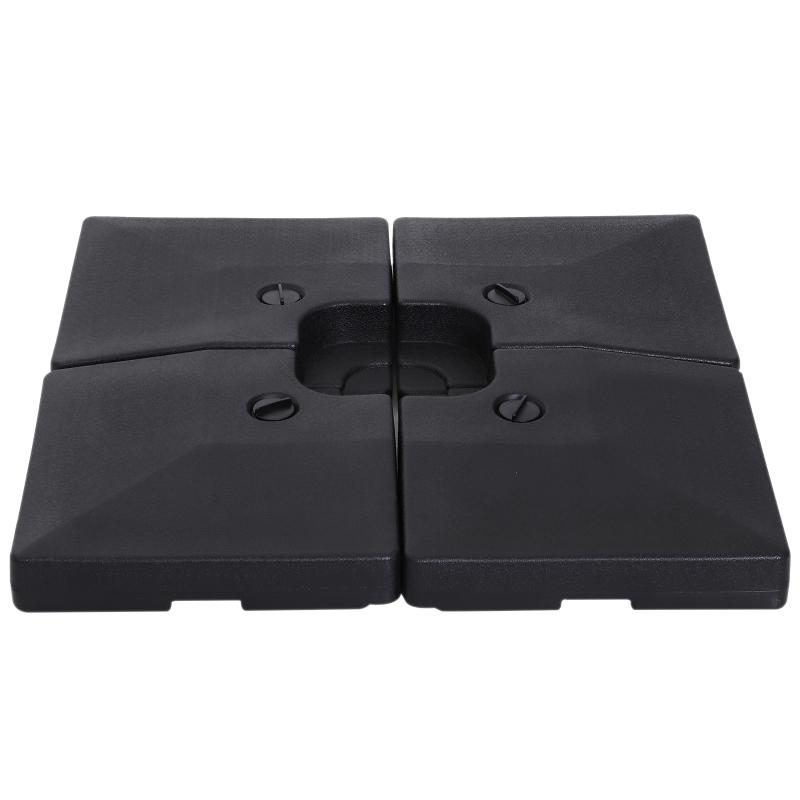 Outsunny® Base de Sombrilla Parasol 4 Piezas Pies Soporte de Sombrilla de Patio Jardín 51x51x12cm HDPE