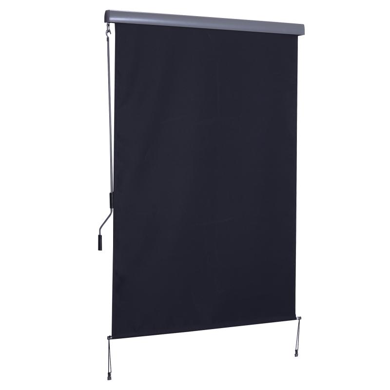 Outsunny Toldo Vertical Enrollable con Manivela 140x250 cm Protección UV para Interior y Exterior Balcón Porche Terraza Color Gris