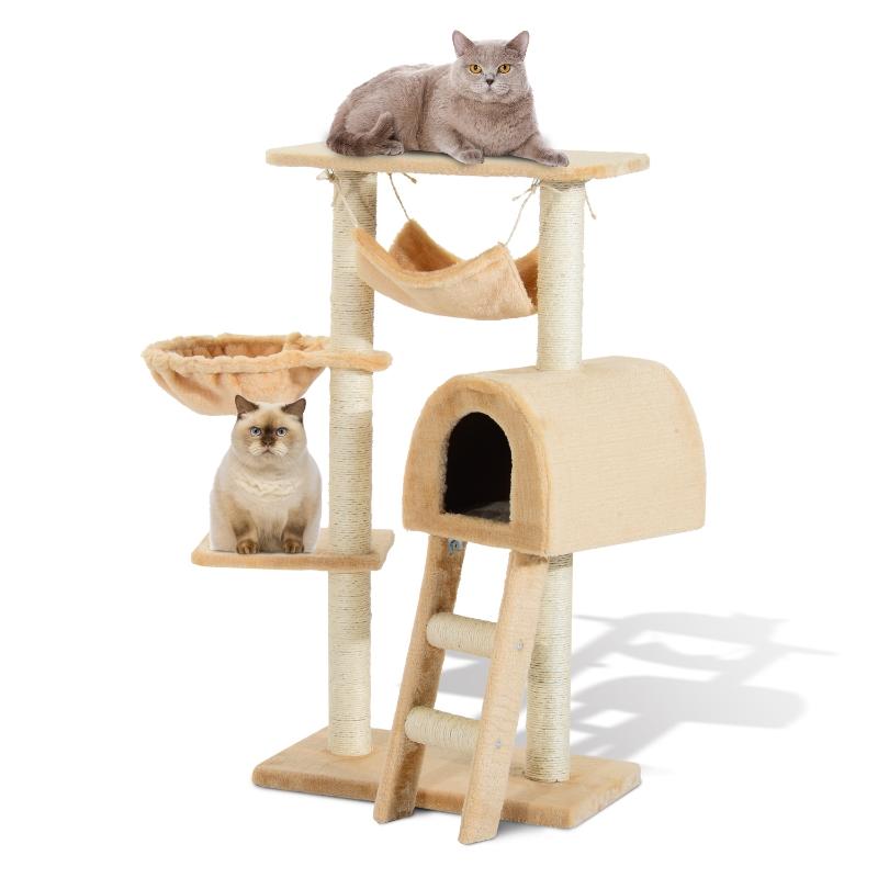 PawHut Árbol para Gatos Rascador con Poste para Arañar Nido Cesta Hamaca Plataforma Caseta y Escalera de Terciopelo y Sisal Natural 55x30x100cm Beige
