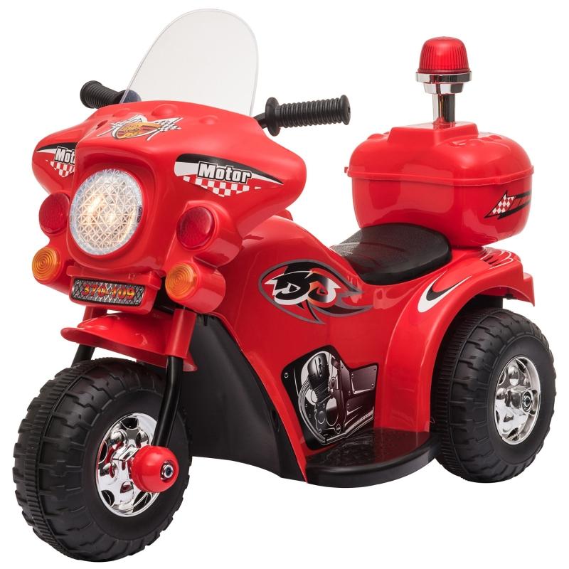 HOMCOM Triciclo Eléctrico para Niños de +18 Meses Diseño Moto Eléctrica Infantil con 3 Ruedas y Batería 6V Funciones de Música 80x35x52 cm Rojo