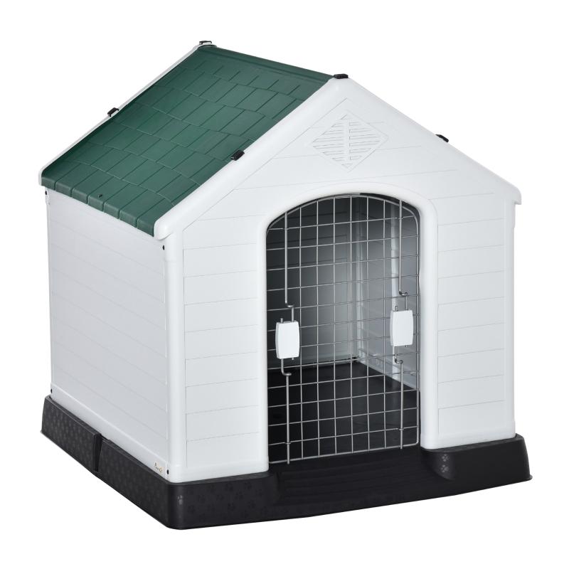 PawHut Caseta de Perro Casa para Perros Medianos con Puerta Metálica con Cerradura Techo Inclinado Base Elevada para Interior Exterior 78x87x81 cm Blanco y Verde