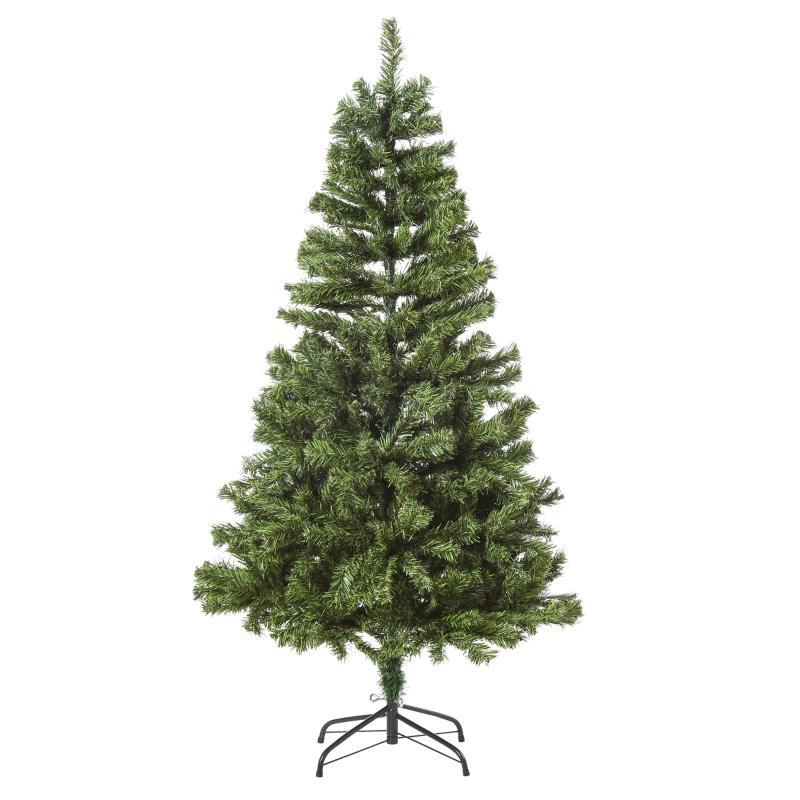 HOMCOM Árbol Artificial de Navidad de 490 Ramas 170 Luces LED Base de Metal Plegable Estructura con Bisagras para Interiores Φ75x150 cm Verde