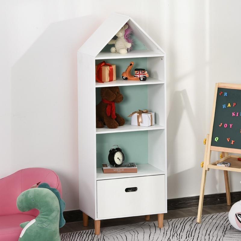 HOMCOM Estantería Infantil Librería de Madera para Niños para Libros Juguetes DVDs con 4 Estantes 1 Cajón Tablero de 2 Colores 50x30x142cm