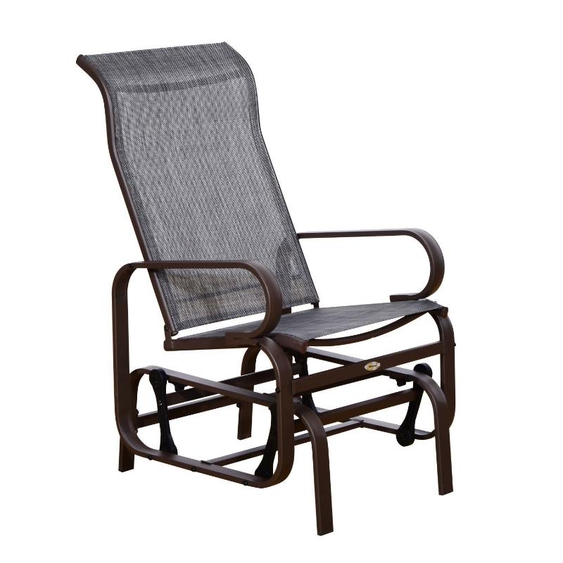 Outsunny Silla Balancin Portátil Cómodo Mecedora para Patio Jardín Terraza con 4 Brazos Oscilante Resistente Metal Tela Textilene Carga 165 KG 75x60x104 cm Marrón