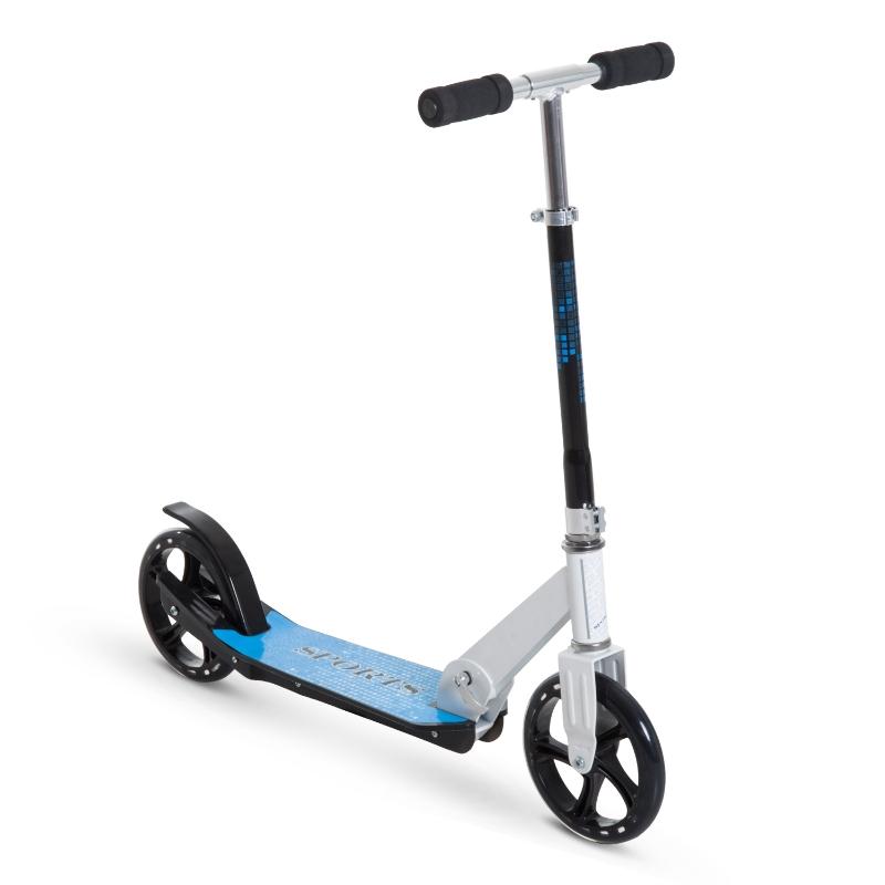 HOMCOM Patinete para Niños y Adultos Scooter Plegable Plegable Manillar Ajustable Marco Aluminio Ligero y Estable Carga 80kg Aluminio 84x34x86-96 cm Blanco