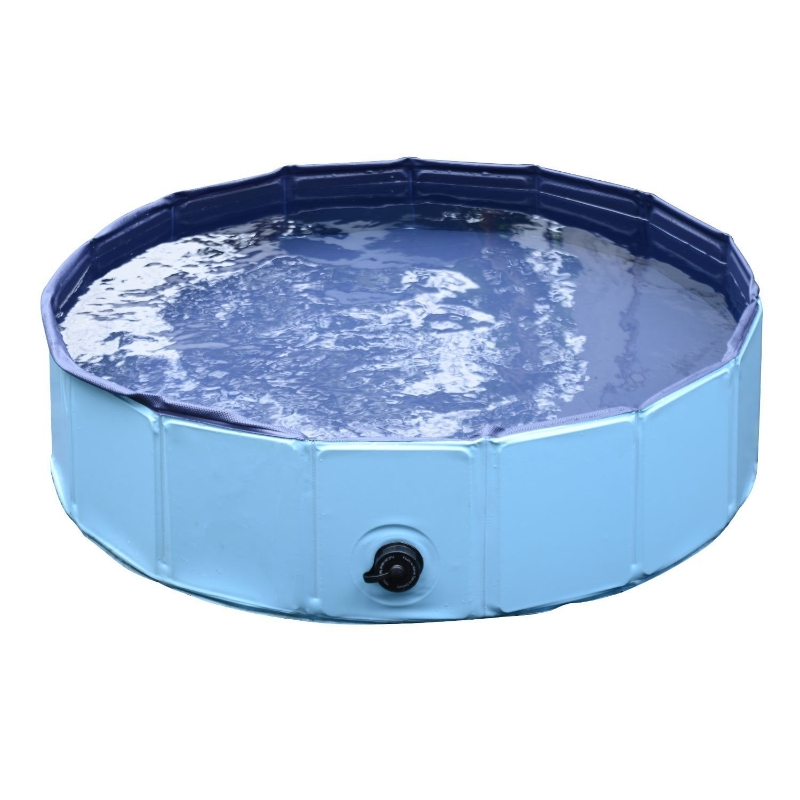 PawHut Piscina Plegable para Perros Gatos Ø120x30 cm Bañera Portátil para Mascotas Animales PVC Antideslizante Múltiples Usos Color Azul
