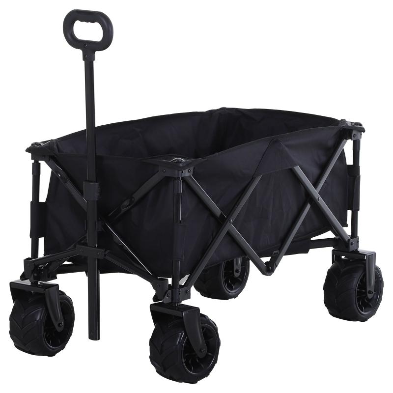 Outsunny Carro de Playa Plegable con Ruedas Delanteras Giratorias 360 grados y Asa Telescópica 108x53x59/89 cm Negro