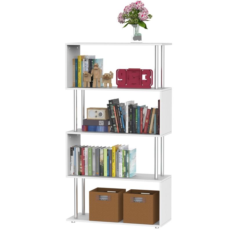 HomCom Librería Muebles para Oficina Estantería Color grano de madera blanca Madera y Metal 145x80x30cm