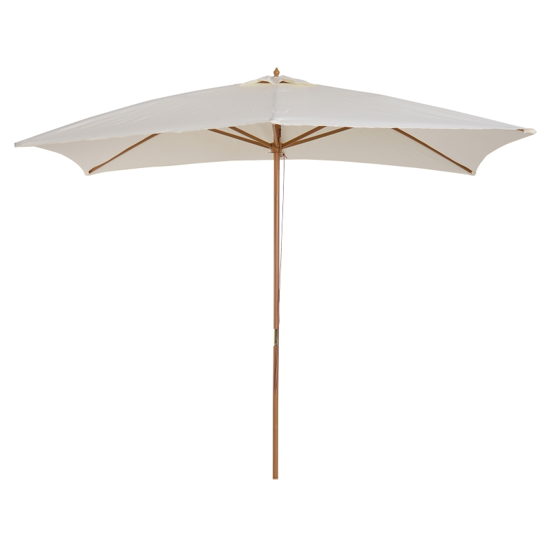 Outsunny Sombrilla Parasol de Madera y Cubierta de Poliéster 180g/m2 para Jardín Terraza 2x2,95x2,55 m  Crema
