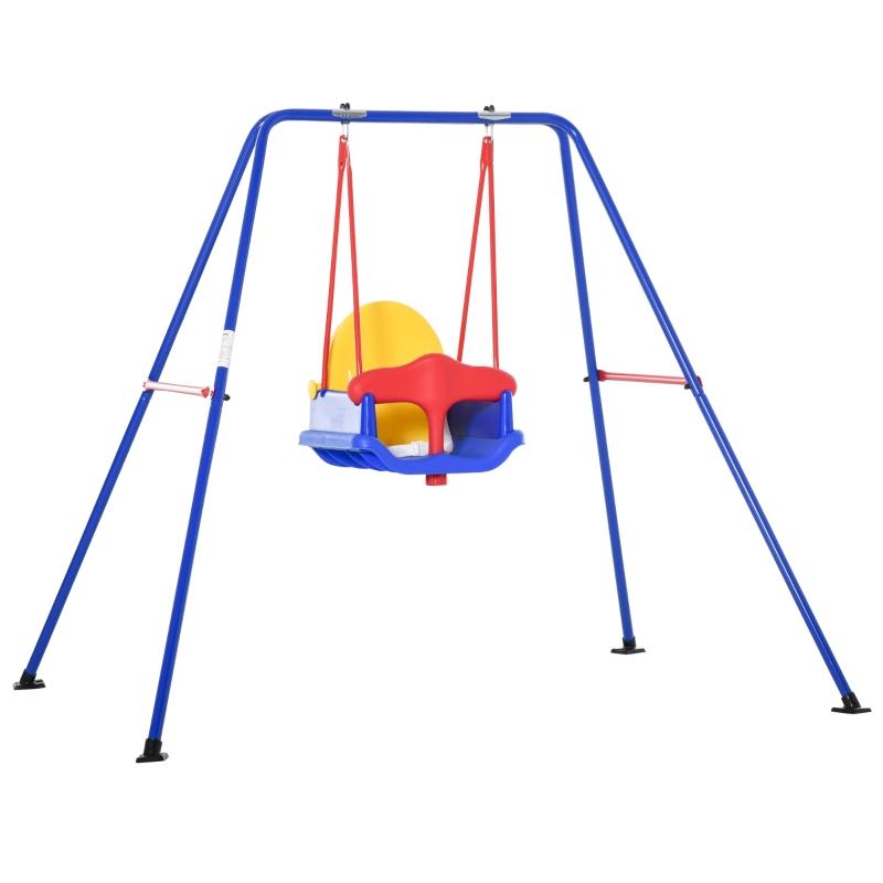 Outsunny Columpio para Niños +6 Meses con Soporte de Metal Asiento y Cinturón de Seguridad con Hebilla para Exteriores Carga Máx. 30kg 140x110x120cm Multicolor