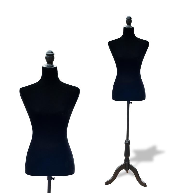 HOMCOM Maniquí Femenino Busto de Señora para Modistas Exhibición Altura Ajustable a 130-168cm Negro