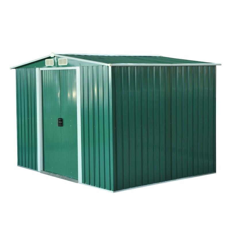 Outsunny Cobertizo Metálico tipo Caseta de Jardín Almacén Galvanizado para Herramientas de Jardinería 258x206x178 cm Verde