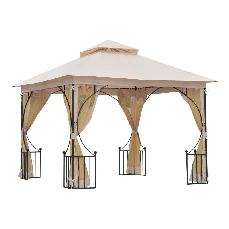 Outsunny Cenador de Jardín 3x3m con 4 Cortinas Laterales de Cremallera y Doble Techo con 8 Orificios de Drenaje Estilo Moderno para Patio Aire Libre Beige