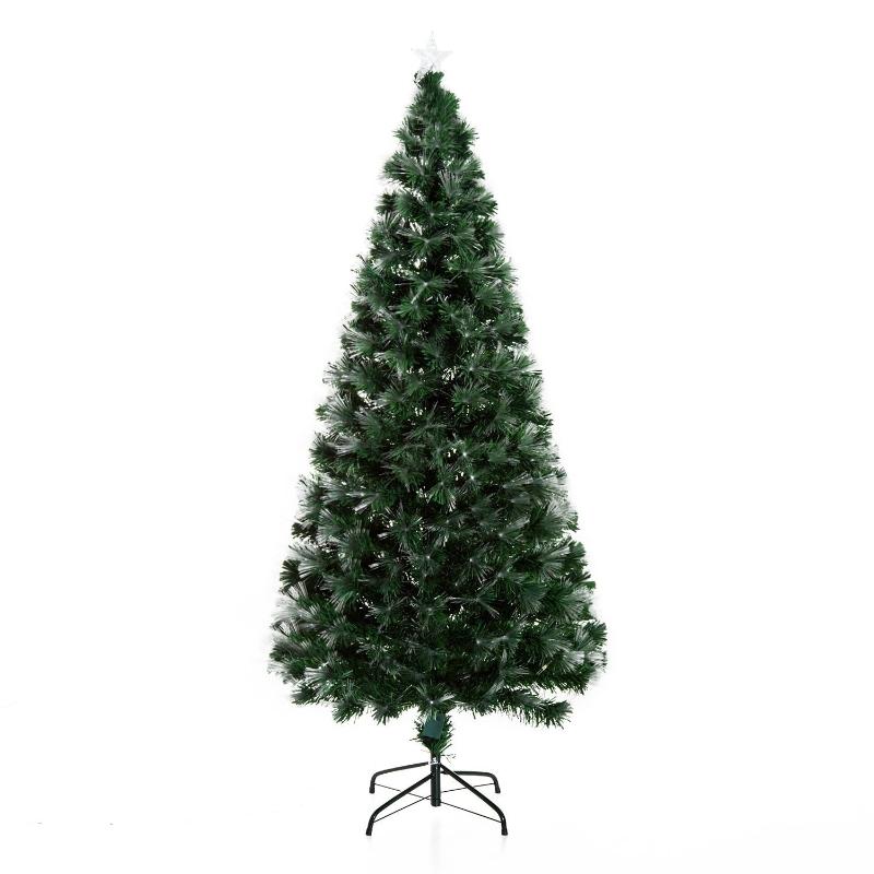 HOMCOM Árbol de Navidad grande de Fibra Óptica Altura 180 cm Estrella y luces de 7 Colores Árboles Artificial Φ84x180cm