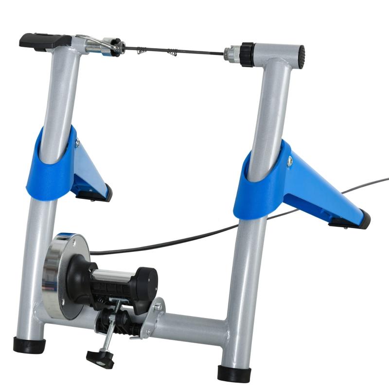 HOMCOM  Rodillo Bicicleta Entrenador de Bicicleta Plegable Portátil con Resistencia Magnética Ajustable de 8 Niveles 77x56x47,5 cm Azul