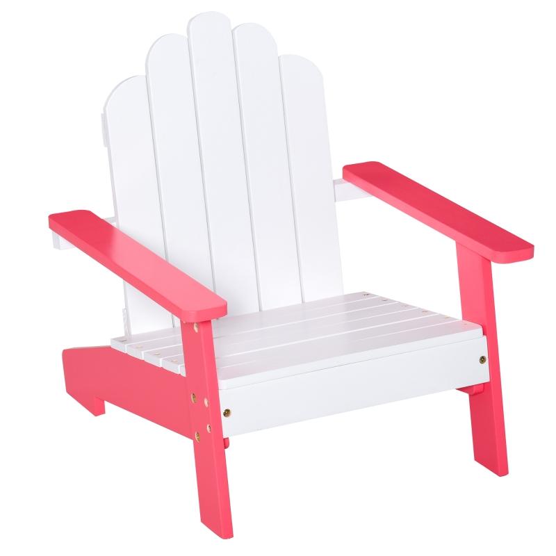 Outsunny Silla de Jardín Adirondack para Niños de +1 Año de Madera Maciza Sillón Infantil para Exterior Terraza Balcón Carga Máx. 40 kg 51x50x52,5 cm Blanco