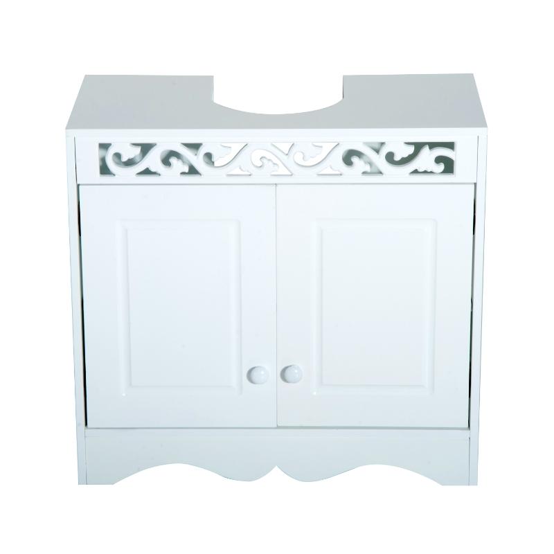 HOMCOM Armario de Baño Bajo para Lavabo con 2 Puertas y Estantes 60x30x56cm Blanco
