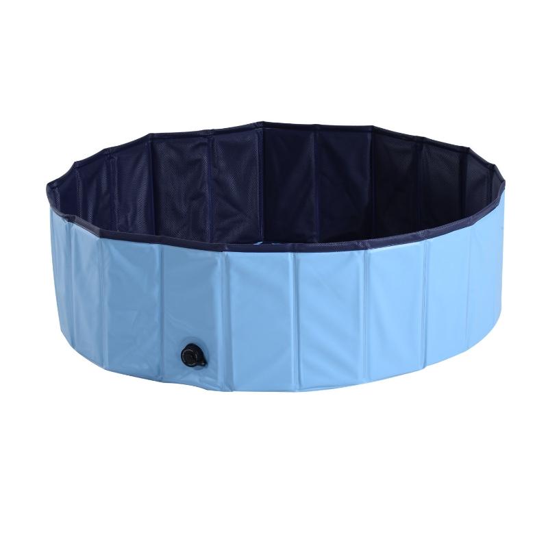 PawHut Piscina para Perros Gatos Plegable Ø140x30cm Piscina Rígida para Mascotas Natación Baño Color Azul