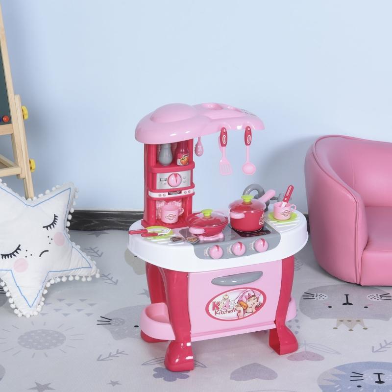 HOMCOM Cocinita de Juguete para Niños de +3 Años Juego de Cocina Infantil Incluye 38 Piezas con Efectos de Luz Sonidos Almacenaje 51x30x73 cm Rosa
