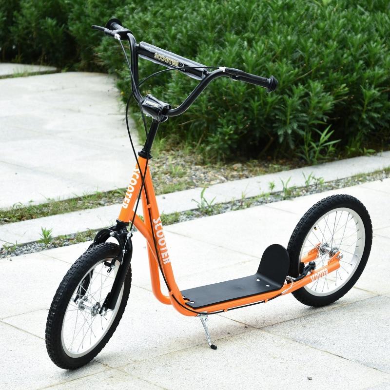 HOMCOM Scooter Patinete para Niños Mayores de 5 Años con Manillar Ajustable en Altura 2 Neumáticos con Doble Freno 139x58x90-96 cm Naranja