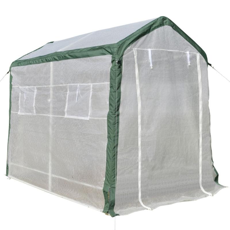 Outsunny Invernadero de Jardín 240x180x200 cm Túnel con 4 Ventanas y Puerta Enrollable para Cultivo de Plantas Flores Verduras Cubierta PE y Marco Acero Blanco