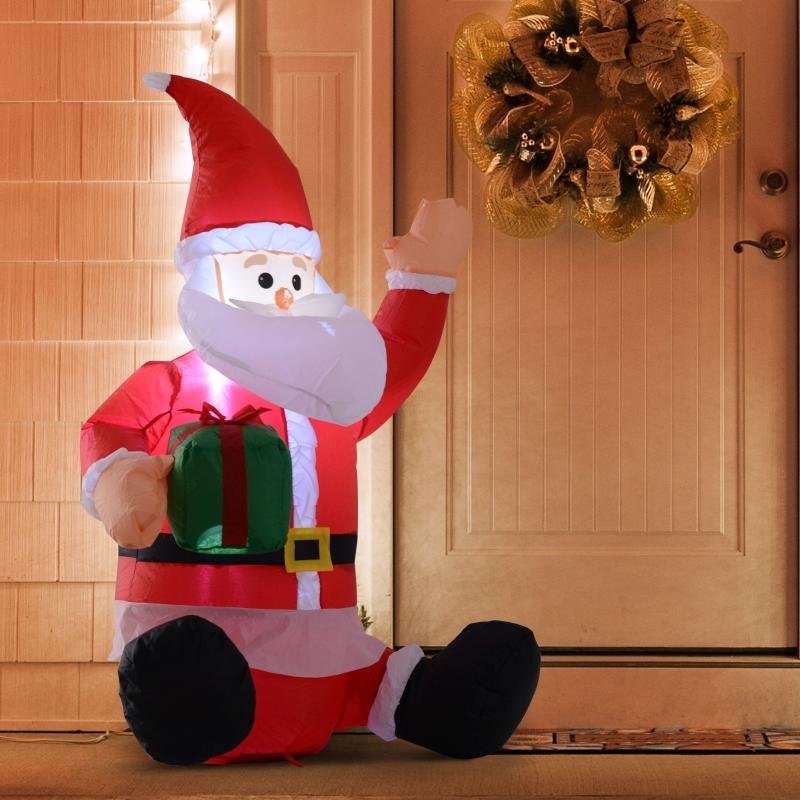 HOMCOM Papá Noel Hinchable 1.2m Santa Claus Inflable con Regalo Decoración Navidad Iluminación LED con inflador para Interior y Exterior 70x50x120cm