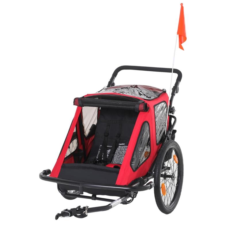 HOMCOM Remolque de Bicicleta para Niños +18 Meses 2 en 1 Cochecito de Paseo de 2 Plazas con Altura Ajustable del Manillar Barra Bandera y Reflectores 160x83x96 cm Rojo