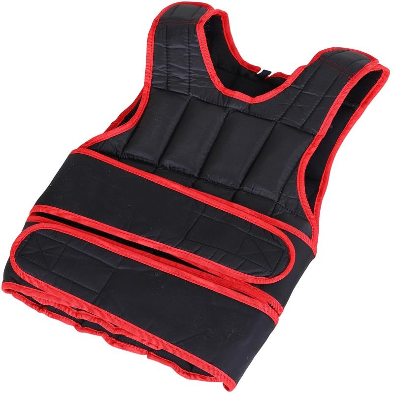 HOMCOM Chaleco Ajustable para Entrenamiento Pesos Individuales hasta 15Kg Cierres de Velcro Doble Cinturón 40x59 cm Negro y Rojo