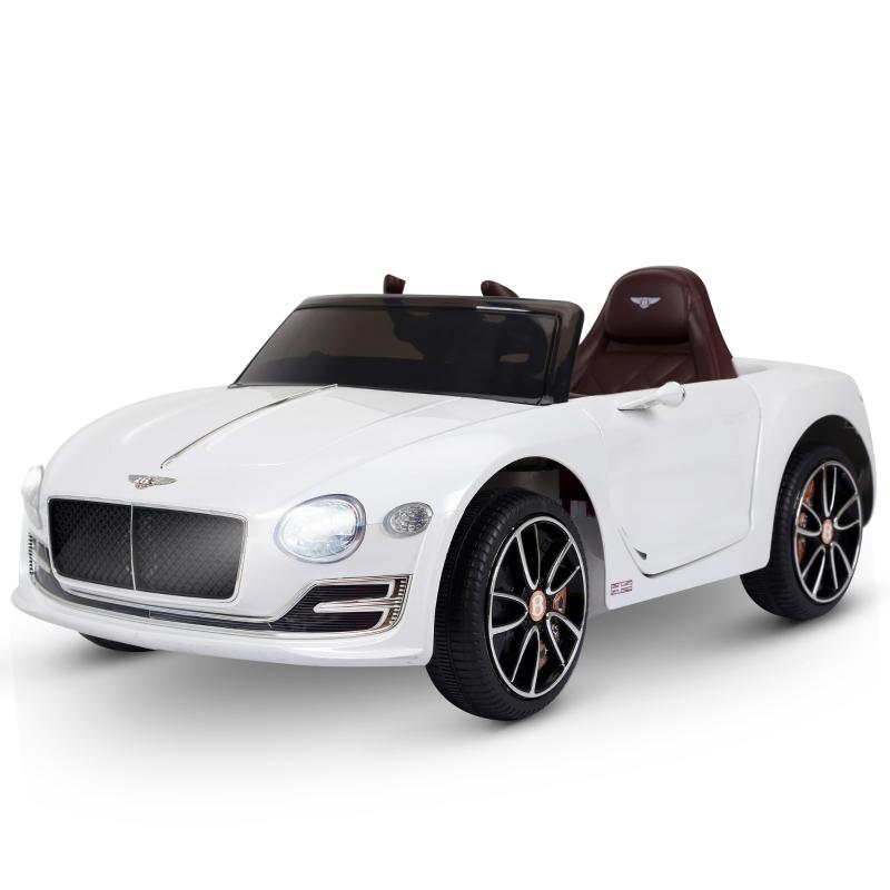 HOMCOM Coche Eléctrico 2 Modos de Control con Música Faros Brillantes Retroceder Bentley GT Licencia para Niños de +3 Años Automóvil Infantil 108x60x43 cm Blanco