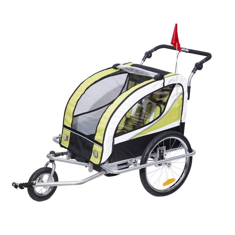 HOMCOM 2 en 1 Remolque Infantil para Bicicleta de 2 Plazas Convertible en Carro de Paseo con Rueda Delantera Giratoria 360° Color Verde