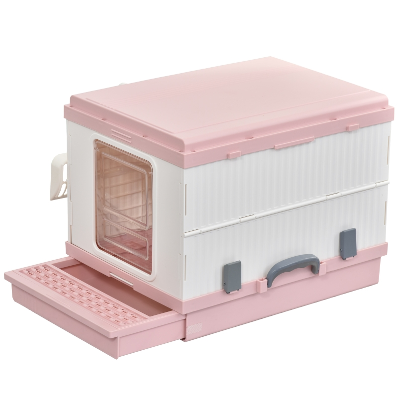 PawHut Caja de Arena para Gatos Plegable Arenero Portátil Aseo con Manija Puerta Orificio de Ventilación Bandeja Material ABS 54x43x42 cm