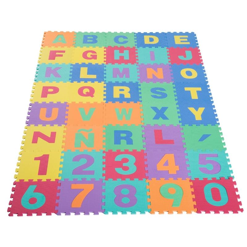 HOMCOM Alfombra Puzzle Infantil Piezas de 31x31x1cm Juego Rompecabezas 29 Letras Acento y Números 0 al 9 Colchoneta para Niños 3,6 metros cuadrados