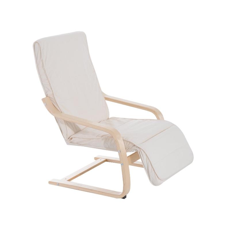 HOMCOM Sillón de Relax Silla de Relax de Madera de Abedul con Reposapiernas ajustable 66.5x81x100cm Beige