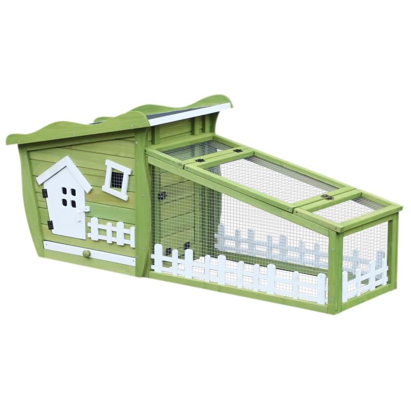 PawHut Conejera Exterior Jaulas para Conejos de Madera Caseta Exterior con Bandeja Extraíble y Techo Asfáltico 156x65x65 cm Verde y Blanco