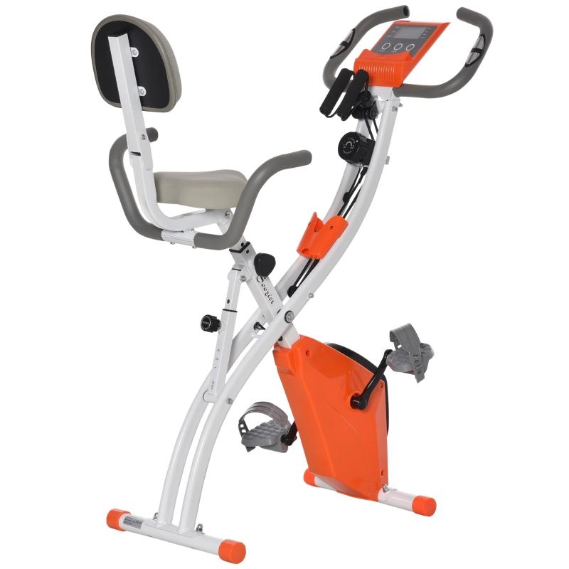 HOMCOM Bicicleta Estática Plegable con Altura y Resistencia Magnética Ajustables con Pantalla LCD y Asiento con Respaldo 51x97x115 cm Naranja