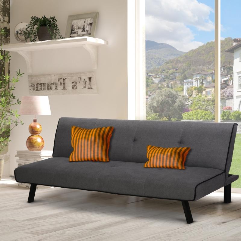HOMCOM Sofá Cama de 3 Plazas Diseño 2 en 1 Plegable sin Reposabrazos Tapicería en Tela con Acolchado Cómodo 170x76x72,5 cm Gris