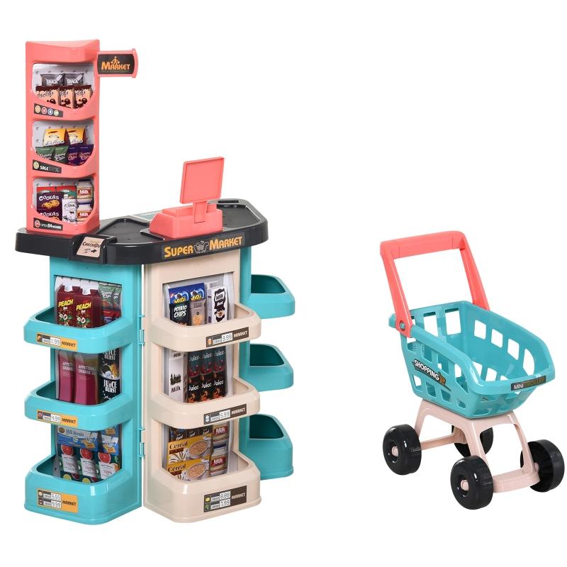 HOMCOM Set de Juguetes de Supermercado para +3 Años Juego de Imitación de 52 Piezas con Carrito de la Compra con Sonido y Luz 53x34x79cm Verde