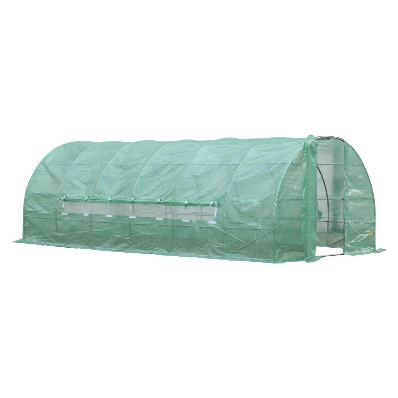 Outsunny Invernadero de Jardines y Huertos con 6 Ventanas para Cultivos Plantas y Verduras Cubierta de PE 140g/㎡ 6x3x2m