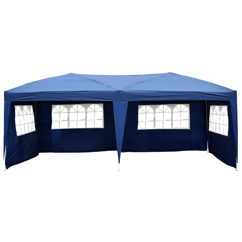 Outsunny Carpa Pabellon 5,91x2,97x2,55 metros Plegable 4 Paneles Ventanas Poliester Resistente de Agua Azul