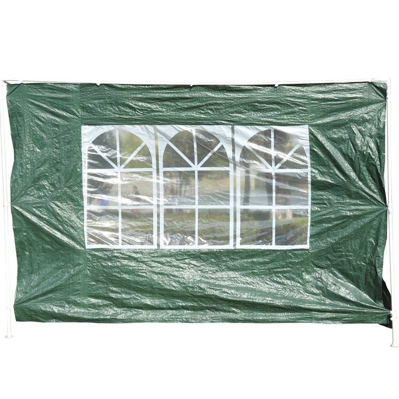 Outsunny® 2 Paredes Parte Laterales para Carpa 3x3m 3x6m Lado Parasol de Gazebo Tela Oxford Impermeable con Ventanas Medidas 300x200cm Verde oscuro