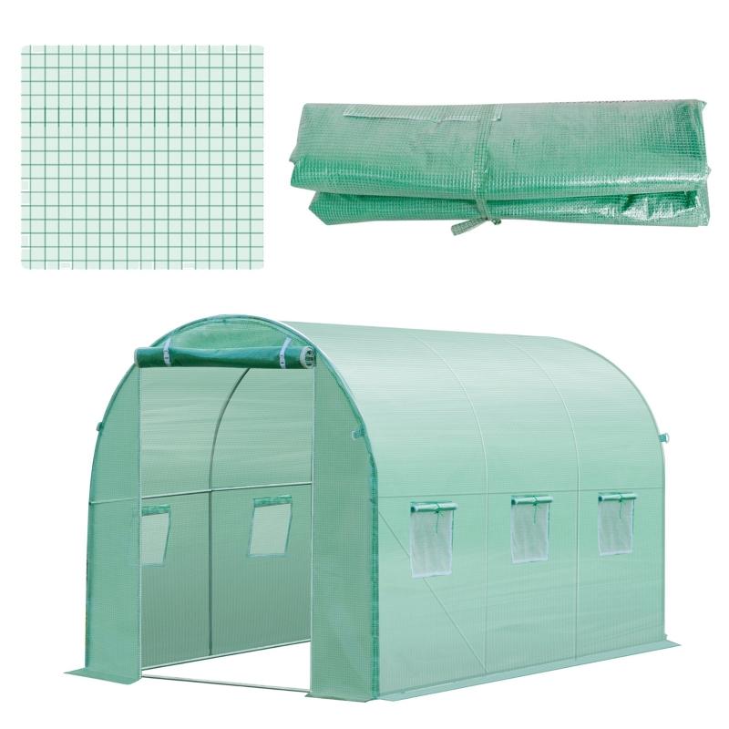 Outsunny Cubierta de Repuesto para  Invernadero 300x200x200cm Tipo Túnel Carpa de Invernadero con 6 Ventanas y Puerta para Jardín Huerto Anti-UV PE Verde