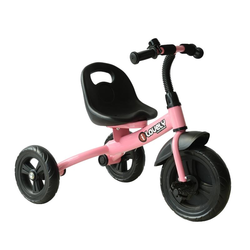 HOMCOM Triciclo para niños de más de 18 meses con Timbre Guardabarros y Ruedas de Seguridad Color Rosa 74x49x55cm