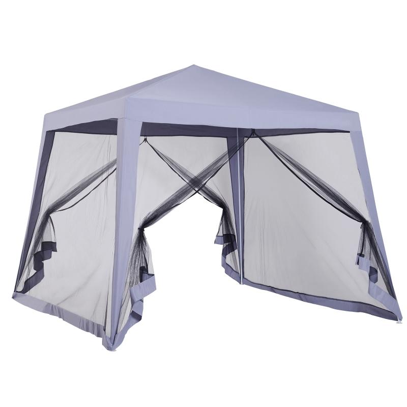 Outsunny Carpa de Jardín 3x3 m Cenador con 4 Partes Laterales Mosquitera con Cremallera Protección UV para Patio Eventos Fiesta Gris