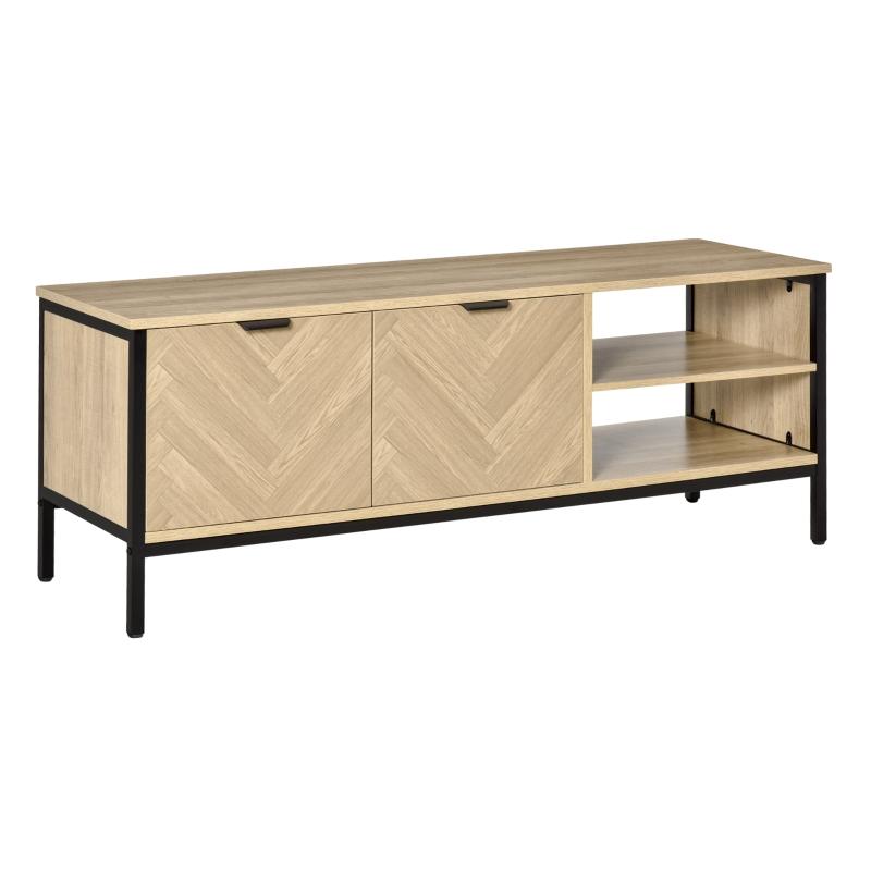 """HOMCOM Mueble de TV para Televisores de hasta 32"""" Mesa de Salón Moderna con Armario 2 Compartimentos Estante Ajustable y Patas de Metal 120x40x46 cm Color Madera Natural"""