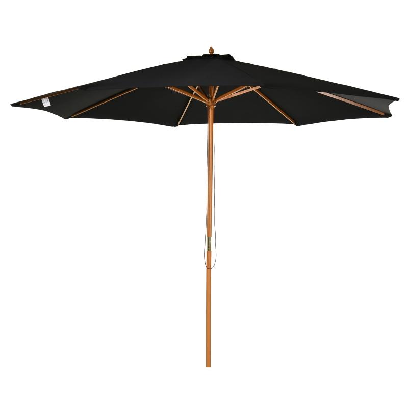 Outsunny Sombrilla Parasol para Terraza Jardín Piscina Patio Camping de Madera y Tejido de Poliéster Ø300x250 cm Negro