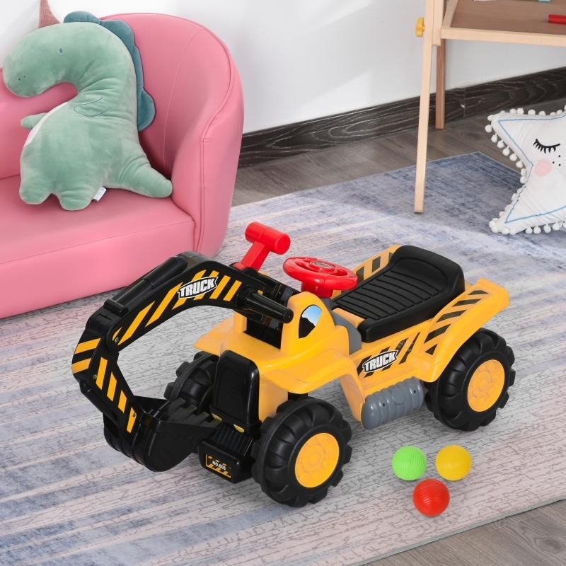 HOMCOM 4 en 1 Excavadora Juguete para Niños +3 Años Tractor Infantil con Pala Caja Oculta de Almacenaje Aro de Baloncesto Volante Giratorio 98x30x46 cm Amarillo