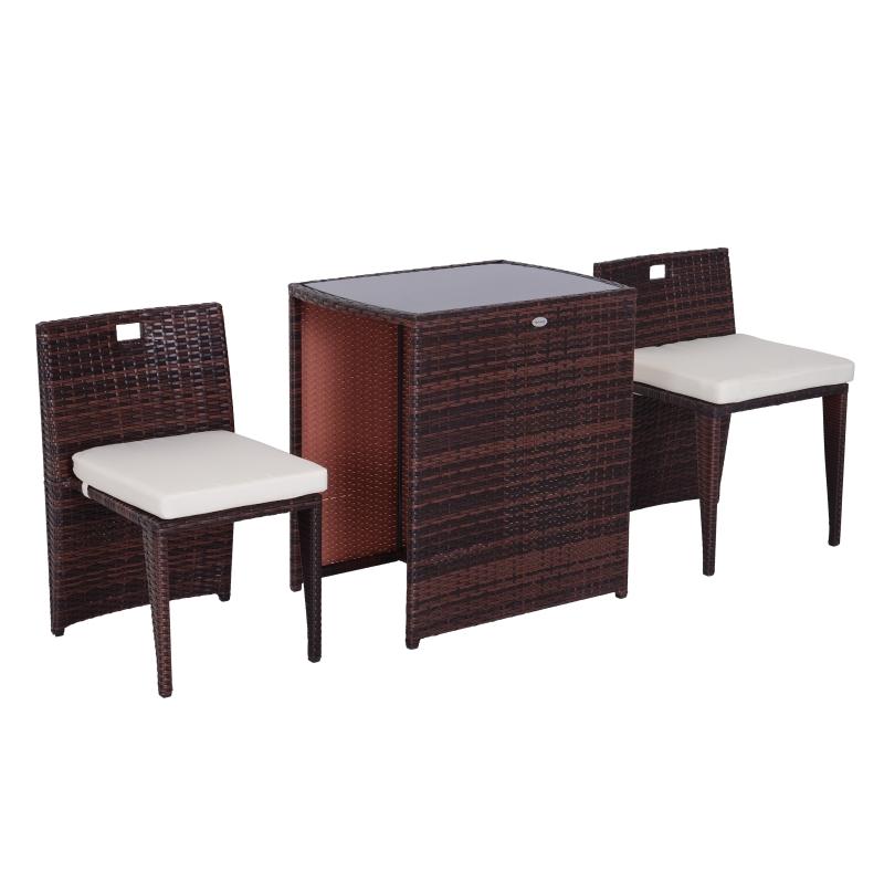 Conjunto Muebles de exterior 1 Mesa y 2 Sillas para Jardín y Terraza - Ratán Sintético - Marrón