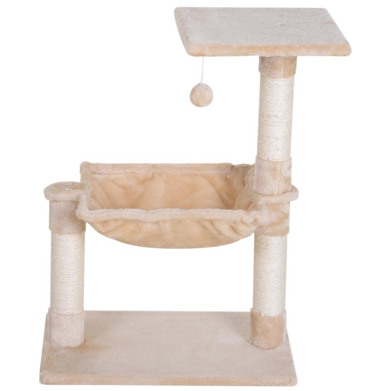 PawHut Árbol Rascador Grande Rascador para Gatos Centro de Actividad Plataforma Caseta Sisal Natural 50x36x70cm
