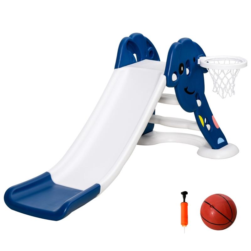 HOMCOM Tobogán Infantil con Canasta de Baloncesto para Niños de +2 Años Juguete Interior y Exterior Carga 25 kg Accesorios Incluidos 160x35x68 cm Azul y Blanco