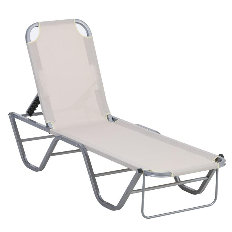 Outsunny Tumbona de Jardín con Respaldo Ajustable en 5 Posiciones de Aluminio y Textilene para Terraza Patio Exterior 163x58,5x91 cm Beige